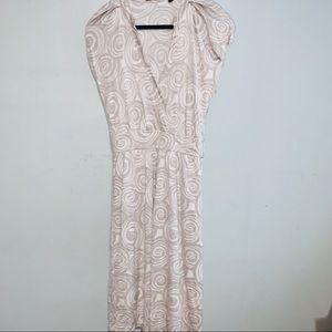 Hugo Boss beige white silk dress swirl sz 4